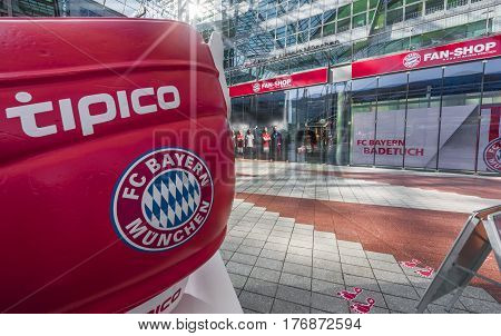 Munich, Germany - September 2016: FC Bayern shop in the international city airport