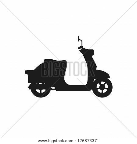Scooter black vector silhouette on white background.