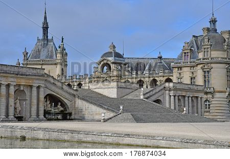 Chantilly France - august 14 2016 : the castle of Chantilly