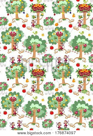 Seamless vector pattern with cute cartoon dancing trees, beautiful birds, rosebushes and cheerful monkeys on white background. Print for fabric.