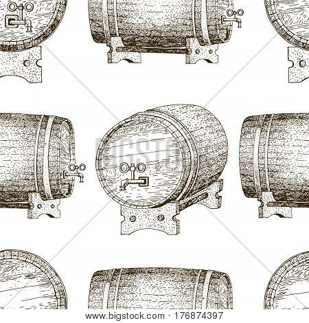 Original vintage retro line seamless vector pattern for beer house, bar, pub, brewing company, brewery, tavern, taproom, alehouse, beerhouse, dramshop restaurant