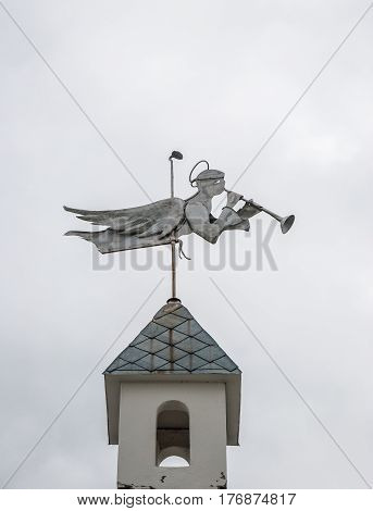 Weathervane in form of angel with trumpet on the tower of the monastery