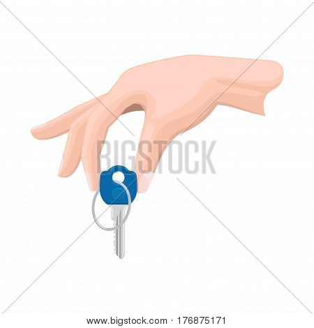 Human hand isolated holding one key on white. Vector illustration of passing key and selling something. Icon in flat style of purchasing concept by arm that is going to give blue key with circle
