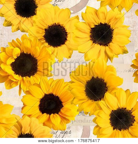 Seamless sunflowers pattern on vintage style collage with fragments of letters and old paper textures