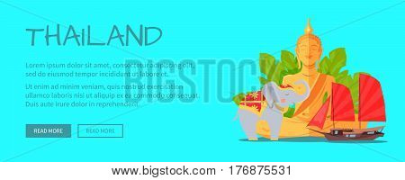 Thailand conceptual web banner. Monument of meditating Buddha with elephant and junk ship flat vector illustration. Horizontal concept with asia related symbols for travel company landing page