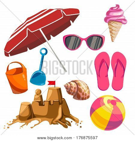 Set of things ideal for a beach outing on a white background. Vector illustration.