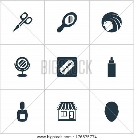 Vector Illustration Set Of Simple Hairdresser Icons. Elements Peeper, Supermarket, Shaver And Other Synonyms Clipper, Shaver And Mirror.