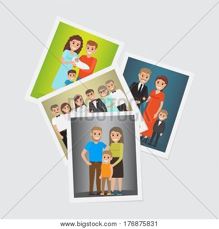 Happy family portraits set. Smiling father and mother with children and newlyweds with parents-in-law standing together flat vector illustrations. Memorable moments of family history concept