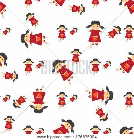 Seamless textile full of dolls with price tags on legs. Vector endless paper of puppets with two dark pigtails, wearing red dresses with pockets on white background. Wrapping pattern for decorations