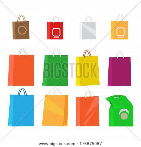 Paper packages for shopping isolated collection on white. Big and small colourful design merchandise packages with handles. Vector illustration of standing bags for carrying goods and items.