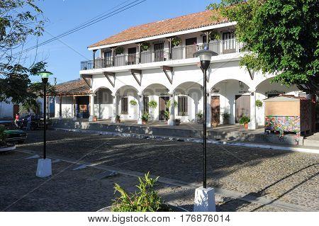 Suchitoto, El Salvador - 18 January 2014: Colonial town of Suchitoto on El Salvador
