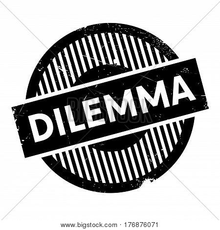 Dilemma rubber stamp. Grunge design with dust scratches. Effects can be easily removed for a clean, crisp look. Color is easily changed.
