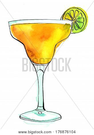 A watercolour drawing of a Margarita cocktail with a slice of lime, on a white background with a place for text