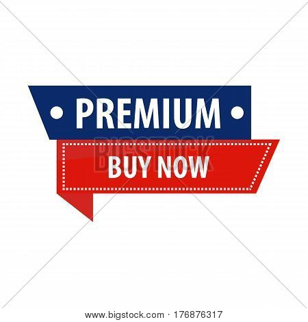Premium buy now sale promotion banner vector illustration. Your text can be here. Bright advertising signboard isolated on white background. Label design in blue and red colors, commercial tag