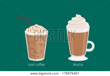 Mocha and Iced coffee with foam and tubule in glass cups on emerald background with text under each. Kinds of Irish and American coffee. Minimalist vector illustration for shops and cafes.
