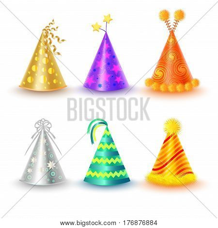 Set of different festive caps in cartoon style on white background. Triangular hood various colors gold purple silver orange green yellow with buboes and stars vector illustration flat design