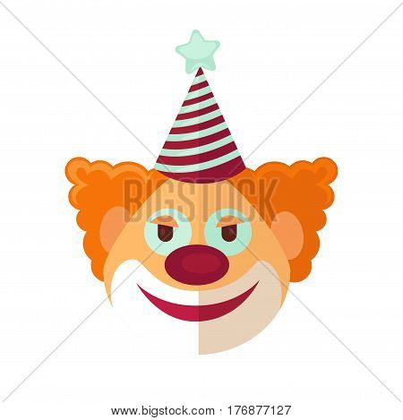 Red clown from circus drawn icon cartoon art style isolated on white background. Funny red-haired character with striped cap and blue star. Face of comic with curly hair with emotion of happiness