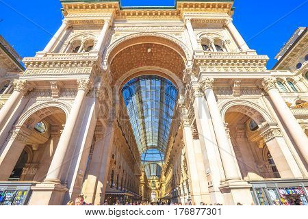 MILAN, ITALY- MARCH 7, 2017: close up of the doorway of the Galleria Vittorio Emanuele II arcaded mall gallery. In Piazza Duomo square.
