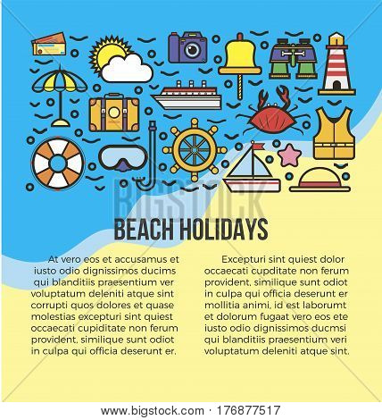 Beach holidays information list vector illustration. All summer attributes icons on sea and shore background. Take photos, dive with mask, sail, take sunbathes, go on excursions during whole journey.