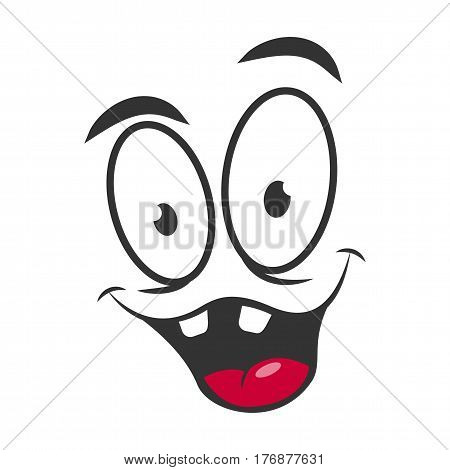 Happy emotion icon logo design in flat style. Simple joyful cartoon face with wide open mouth, red tongue and white teeth. Successful graphic character vector illustration. Glad satisfied expression