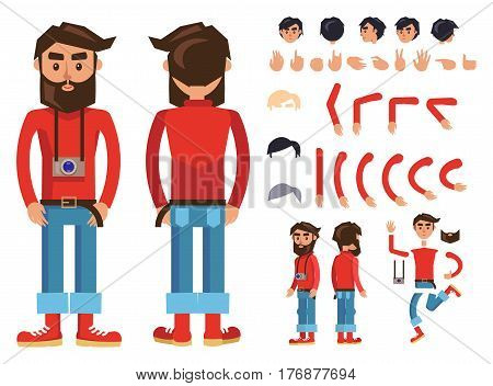 Hipster character constructor with body parts, gesture, gadget and hair colors. Bearded man in red jumper, rolled up jeans and boots with photo camera on neck from different sides isolated flat vector