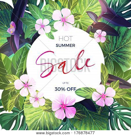 Bright green tropical background with pink and purple flowers. Exotic summer sale banner design, vector illustration.