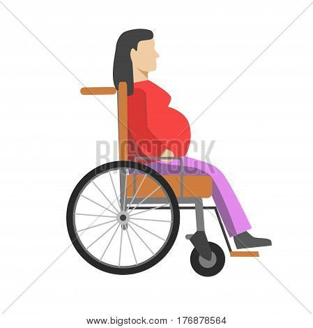 Pregnant woman sitting in wheelchair isolated on white. Vector colorful flat illustration with side view of disabled female person with baby under heart in special armchair that help in moving.