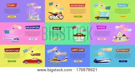 Collection of illustrations with hands passing keys. Process of buying or selling sportbike truck. Helicopter and airplane sold. Shop house propose sportcar or motorboat. E-commerce online shopping