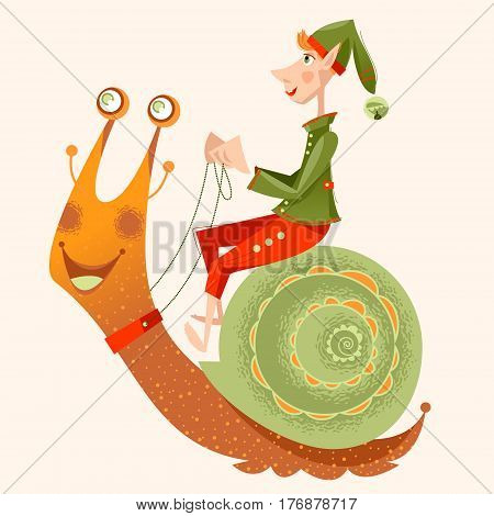 Little gnome riding a snail. Vector illustration