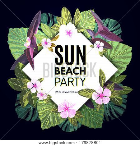 Bright floral banner template for summer beach party. Tropical flyer with green exotic palms and pink flowers, vector illustration.