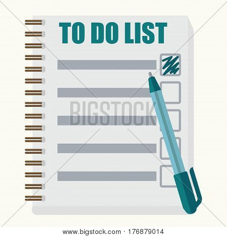 Paper note book with to do list in cartoon style on white background. Blue pen pointed executed task. Vector illustration of realistic diary. Graphic icon flat design for websites, mobile app