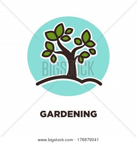 Gardening as leisure activity and useful hobby promotion logo vector illustration. Green plant in ground on turquoise circle isolated on white background. Plant trees save world and humanity.