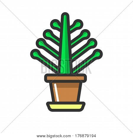 Green indoor plant without bloom in clay pot isolated on white background. Natural floral decoration to make home cozier vector illustration. Cultivation of indoor plants as leisure activity.