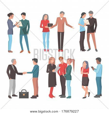 Six startup teams vector illustration. Three teams consist of man and woman make notes, shrug their shoulders and look on paper. Two men shake their hands and team of three people that discuss idea.