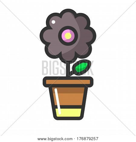 Dark purple flower in clay pot isolated on white background. Fragrant house plant that blossom vector illustration. Cultivation of indoor flowers as leisure activity. Natural decoration for home.