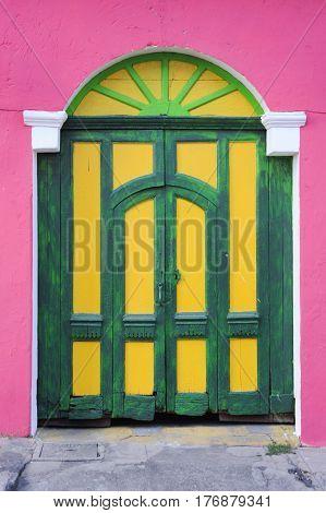 Colorfull front door at Suchitoto on El Salvador