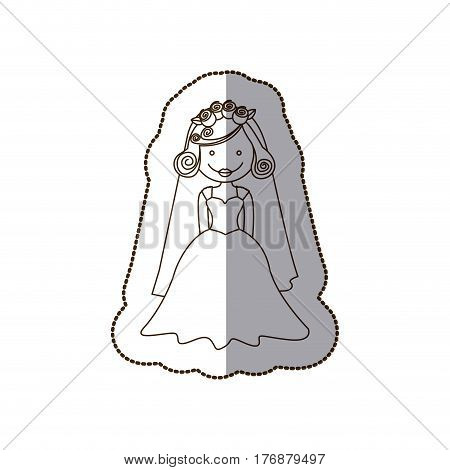 happy bride with dress and veil, vector illustration design