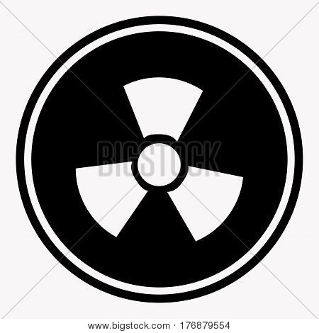 Warning colorless round sign of radiation isolated on white. Attention informative chemical signal symbol. Vector flat illustration isolated on white. Danger emblem that prevents some kind of hazard