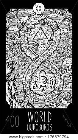 World. 20 Major Arcana Tarot Card. Ouroboros. Fantasy engraved line art illustration. Engraved vector drawing. See all collection in my portfolio set