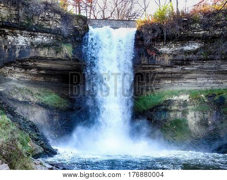Waterfall in the City of Minneapolis during the fall
