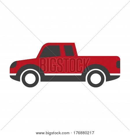 Red car pick up in cartoon style flat design isolated on white. Vector illustration of cargo van machine transport pick-up auto icon. Image for infographics, websites and app. Hand drawn pattern.