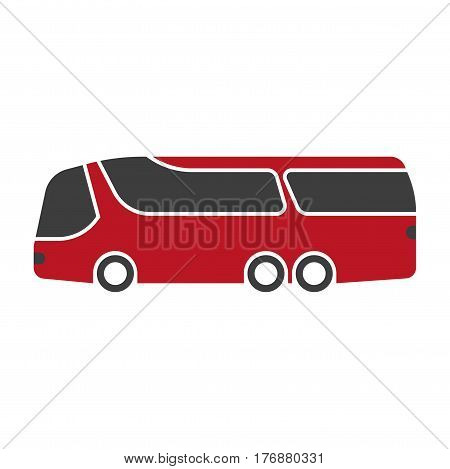 Red shuttle bus with large black windshield art isolated on white. Vector illustration of transport. Big autobus icon with six wheels. Realistic hand drawn pattern in cartoon style flat design.