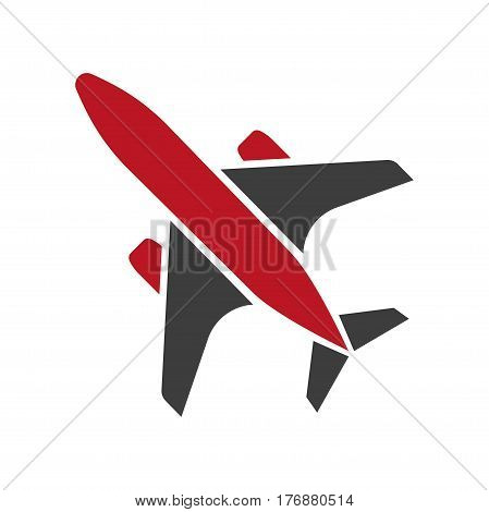 Flying black and red aircraft hand drawn isolated symbol on white background. Vector illustration of air transport close-up. Graphic icon in cartoon style for infographics, websites and mobile app
