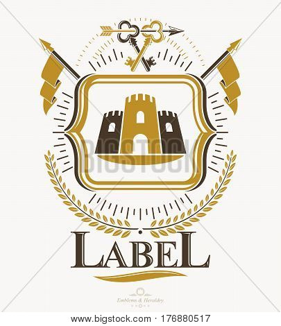 Vintage vector design element. Retro style label heraldry.