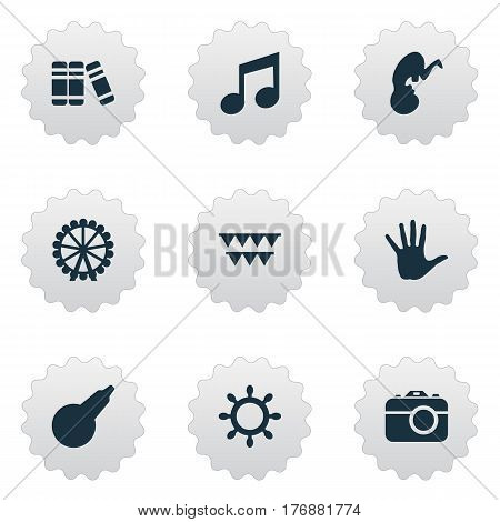 Vector Illustration Set Of Simple Child Icons. Elements Ferris Wheel, Bookshop, Palm And Other Synonyms Palm, Pump And Moments.