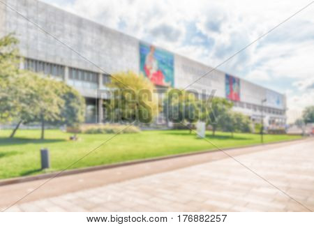 Defocused Background With Facade Of New Tretyakov Gallery, Moscow, Russia