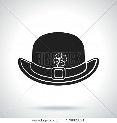 Vector illustration. Silhouette of front view of bowler hat with buckle and clover. Saint Patrick's Day symbol. Patterns elements for greeting cards wallpapers