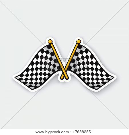 Vector illustration. Two crossed chequered racing flags on flagstaffs. Cartoon sticker with contour. Decoration for greeting cards patches prints for clothes badges posters emblems