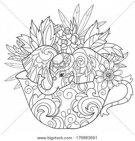 Hand drawn doodle outline elephant ion tea cup decorated with ornaments.Vector zen art illustration.Floral ornament.Sketch for tattoo or coloring pages.Boho style.