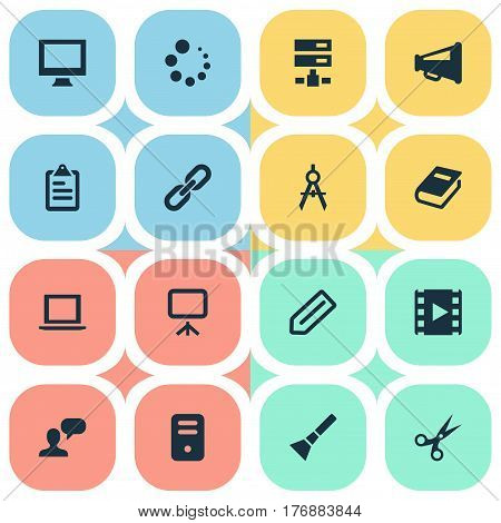 Vector Illustration Set Of Simple Design Icons. Elements Board, Bullhorn, Loading And Other Synonyms Tool, Appliance And Board.